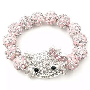 Girl's light pink hello kitty beaded bracelet